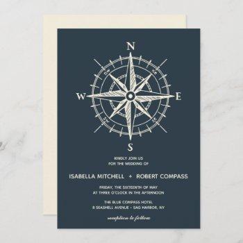 the blue compass | wedding invitation