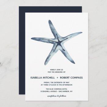 the blue starfish   wedding invitation