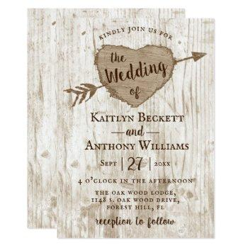the carved heart tree wedding collection invitation