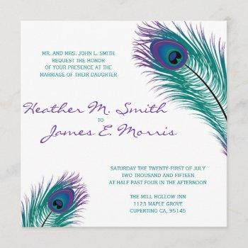 the classy peacock wedding invitation