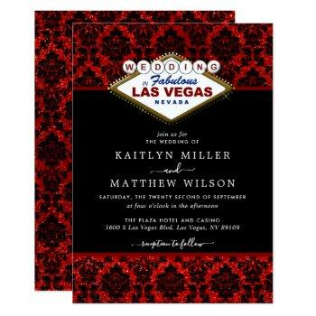 the glitter damask las vegas wedding collection invitation