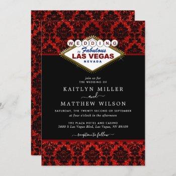 the glitter damask las vegas wedding collection invitation