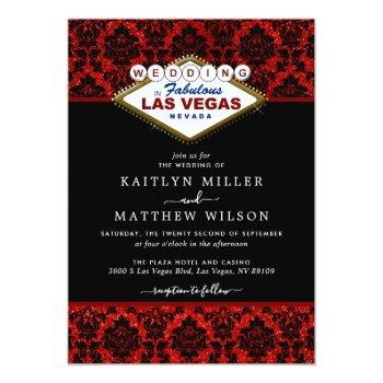 Small The Glitter Damask Las Vegas Wedding Collection Invitation Front View