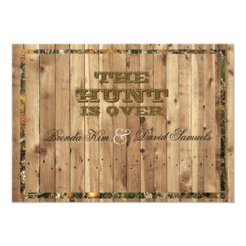 the hunt is over camo wedding invitation