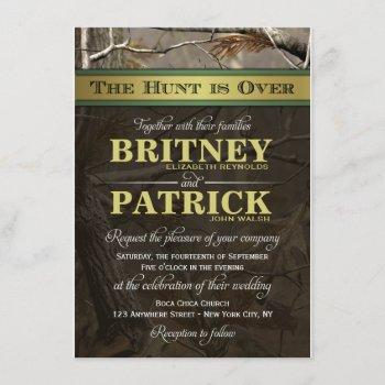 the hunt is over hunting camo wedding invitations