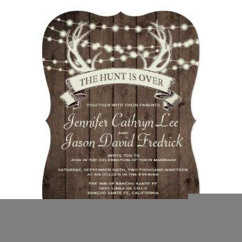 """the hunt is over"" rustic barn evening wedding invitation"
