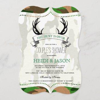 """""""the hunt is over"""" rustic camo couple's shower invitation"""