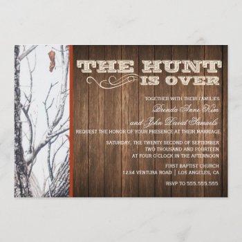 the hunt is over winter camo wedding invitation