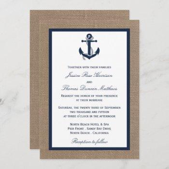 the navy anchor on burlap beach wedding collection invitation