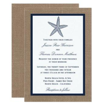 the navy starfish burlap beach wedding collection invitation