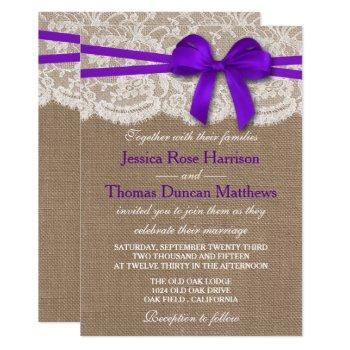 the rustic purple bow wedding collection invitation