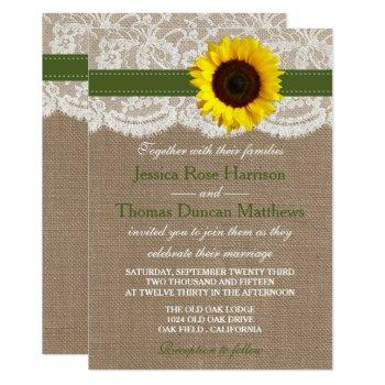 the rustic sunflower wedding collection - green invitation