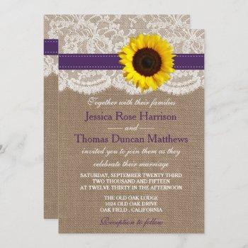 the rustic sunflower wedding collection - purple invitation