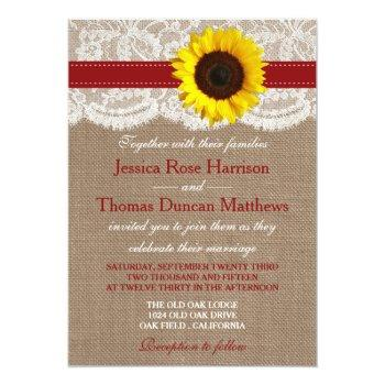 the rustic sunflower wedding collection - red invitation