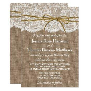 the rustic twine bow wedding collection invitation