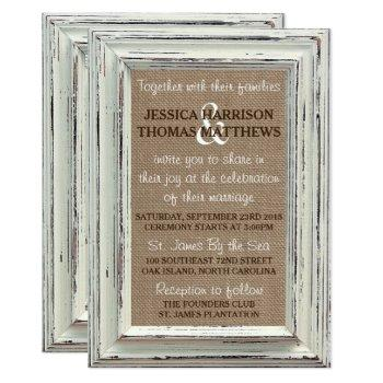 the rustic white frame & burlap wedding collection invitation