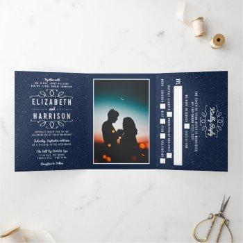 the starry night wedding suite tri-fold invitation