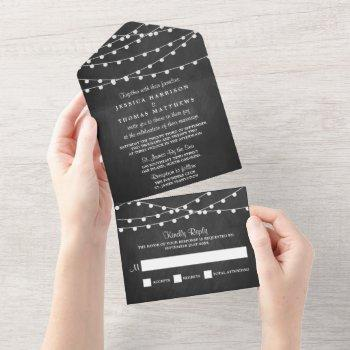 the string lights on chalkboard wedding collection all in one invitation
