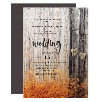 the two lovers carved trees fall forest wedding invitation