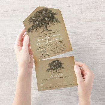 the vintage old oak tree wedding collection all in one invitation
