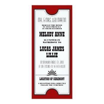 theatre ticket wedding invitation