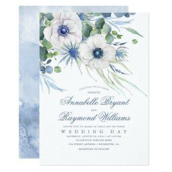 thistle anemone greenery dusty blue wedding invitation