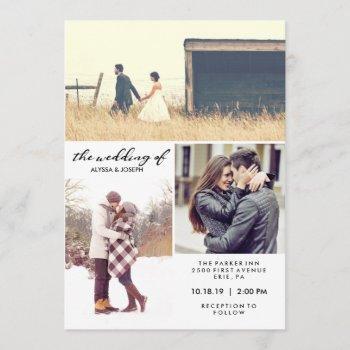 three photos and modern typography wedding invite
