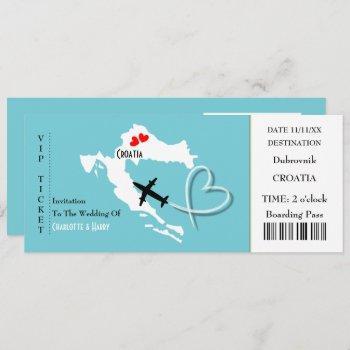 ticket boarding pass wedding destination croatia invitation