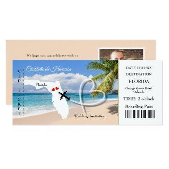 ticket boarding pass wedding destination florida invitation