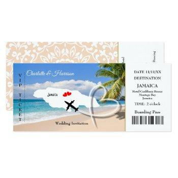 ticket boarding pass wedding destination jamaica invitation