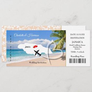 ticket boarding pass wedding destination jamaica invitation