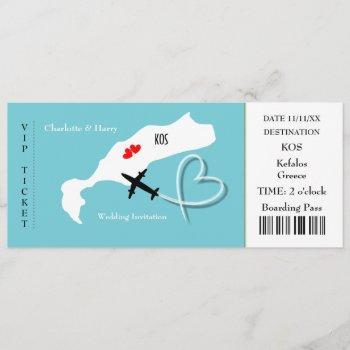 ticket boarding pass wedding destination kos invitation