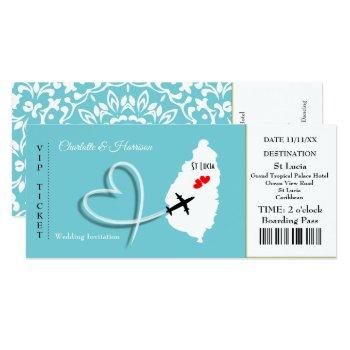 ticket boarding pass wedding destination st lucia invitation