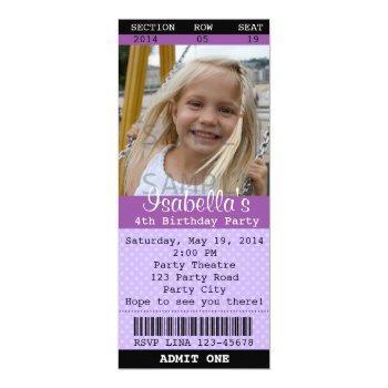 ticket invitation (purple) photo -theatre/movie