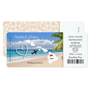 ticket pass wedding  destination hawaii invitation