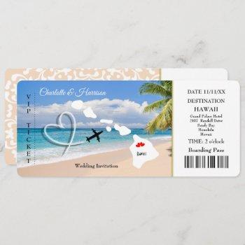 ticket pass wedding  destination hawaii invitation