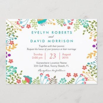 tiffany blue botanical floral wedding celebration invitation