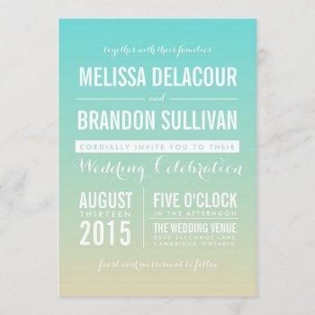 tiffany blue ombre beach wedding invitation