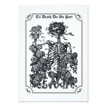 Small Til Death Do Us Part Skeleton Wedding Invitation Front View