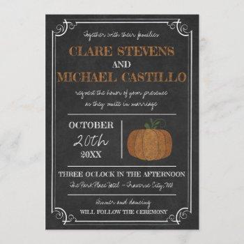 til death fall pumpkin orange black wedding invitation
