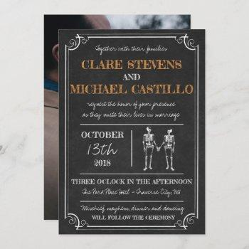 til death halloween skeleton orange black wedding invitation