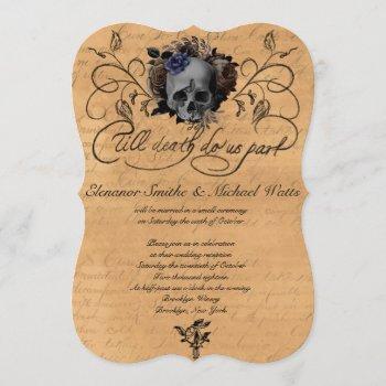 till death to us part floral skull wedding invitation