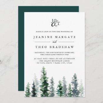timber grove | monogram wedding invitation