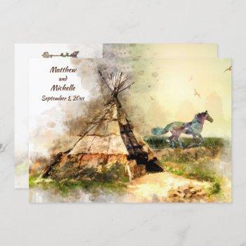 tipi and indian pony boho horse teepee wedding invitation