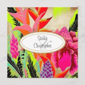 torch ginger+heliconia/luau wedding invitation