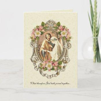 traditional catholic elegant vintage wedding invitation