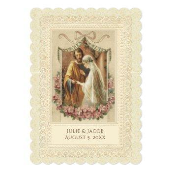 traditional catholic vintage  wedding invitation