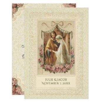 traditional catholic wedding bride groom invitation