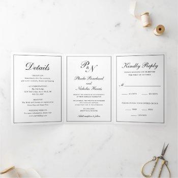 traditional monogram black white formal wedding tri-fold invitation