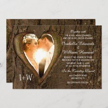 tree heart rustic wedding with your photo invitation